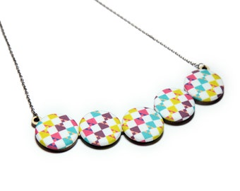 Geometric Checkerboard Statement Necklace - Saturated Pastels