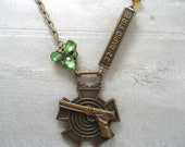 NRA Gun Necklace - Antique Assemblage Necklace - OOAK - Gun Jewelry