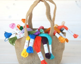 Embroidery Thread Bundle - 70 Colors - All Collections included in a Burlap Bag - Embroidery Floss by Sublime Floss - Christmas Gift