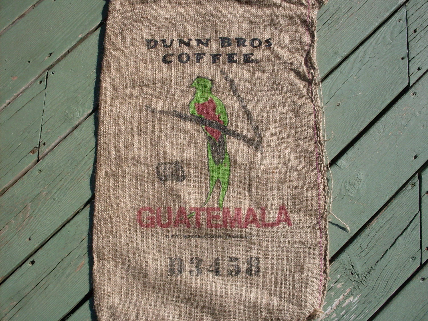 burlap coffee bag dunn bros gunny sack guatemala bird. Black Bedroom Furniture Sets. Home Design Ideas