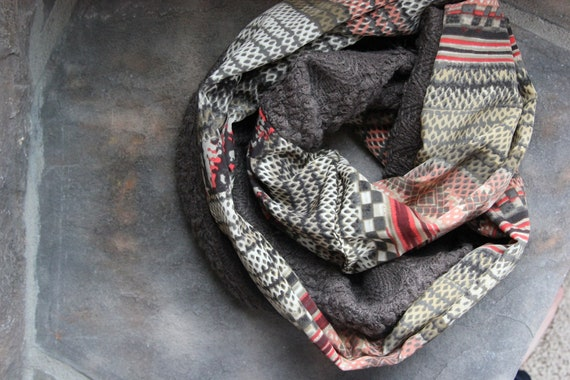 Sweater Knit Scarf - Double sided with Orange Grey and Green Pattern