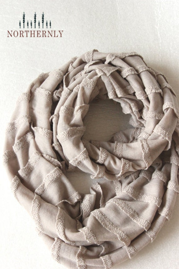 French Lace Ruffle Knit Infinity Scarf