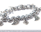 Silver Barrel Chain Maille Bracelet  with Tibetan Silver Leaf & Heart Charms