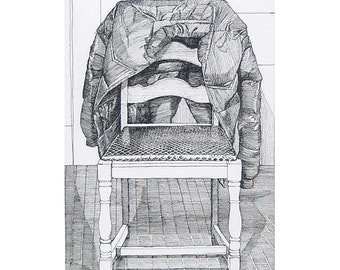 Chair with Jacket -- print of pen and ink drawing