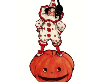 Halloween Fabric Block - Clown w Pumpkin Jack O Lantern Black Cat