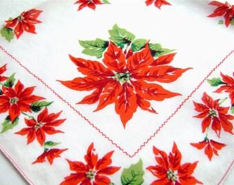 Vintage Christmas Handkerchiefs, Pair, Poinsettias, Red, Green, Christmas Hankies, Mid Century