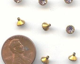 6 Vintage Swarovski Rosaline Rhinestone Brass Set Cone Stem Findings E122