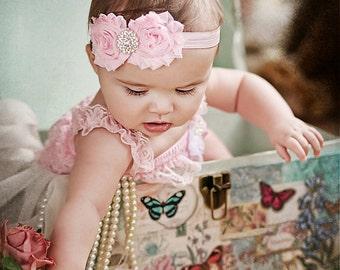 Pink Shabby Headband Shabby chic Headband Baby headband rhinestone newborn headband flower headband baby girl headband