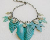 Turquoise Patina Leaf Necklace Nature Inspired Necklace Leaf Jewelry Green Necklace - KRMjewel