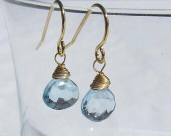 Small, Light Blue Topaz Earrings
