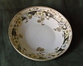 Large Gold Beaded NIPPON Bowl with Black Panel and Pale Yellow and Gold Floral Design and Gold Trim