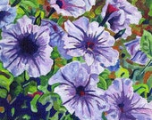 Giclee Flower Canvas Print Small 5x7 - Purple Petunias - Signed Limited Edition