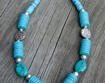Natural Turquoise and Silver Pewter Necklace - Turquoise and Silver Necklace - Chunky Necklace - Statement Necklace - Turquoise Necklace