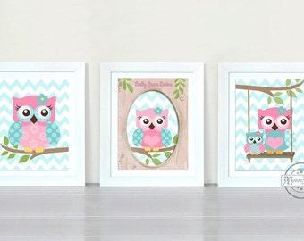 Owls Nursery Art  -  Nursery art Set of 3 Prints - owls -  Pink  and Aqua Nursery Print - Owl Decor for Baby Girl Room