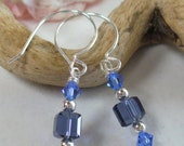 Drop, Dangle Blue Earrings with Swarovski Crystals, Silver-Plated Round Beads and French Hoop Earwires for Spring, Summer, Winter, for Her