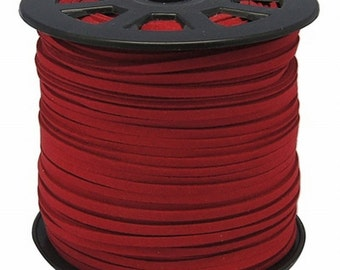 Red Vegan Faux Suede Flat Cord 3mm