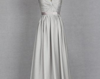 Silver Evening Dress, V-neck Evening Dress made from Chiffon or Satin Chiffon