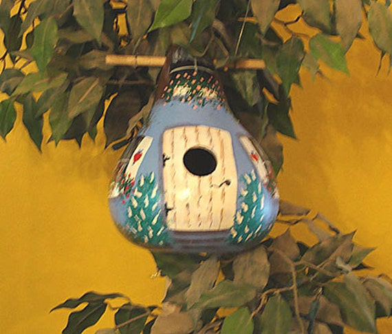 Blue/White Heart Cottage Birdhouse Gourd, Handpainted   (GBHC116)