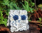 Vintage Style Navy Blue Rosette Stud Earrings