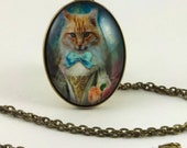"Cat Pendant, Elegant LadyCat no. 6/Antique Brass Pendant/ Glass Domed/24"" chain"