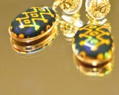 Gold kioni dangle with filgree stud- ankara jewelry