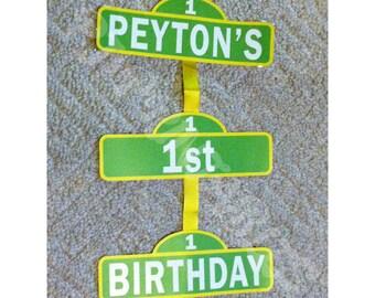 Sesame Street Inspired Hanging Birthday Sign- Customized Digital File
