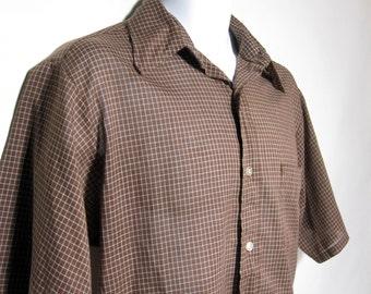 Vintage Brown/White Check Short Sleeved Shirt Sz.L 1980's