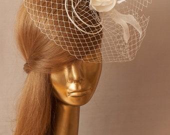 BIRDCAGE VEIL. Bridal FASCINATOR .  Ivory Veil .Romantic wedding Headpiece with beautifull Delicate Flowers.