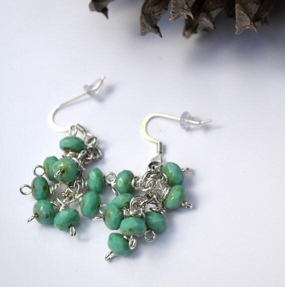 Green Earrings Green Dangle Clusters Czech Glass Silver Earrings Boho Southwestern Tribal Country Gypsy Chic
