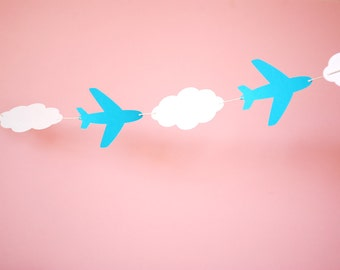 Airplanes and Clouds Paper Garland 5 ft.