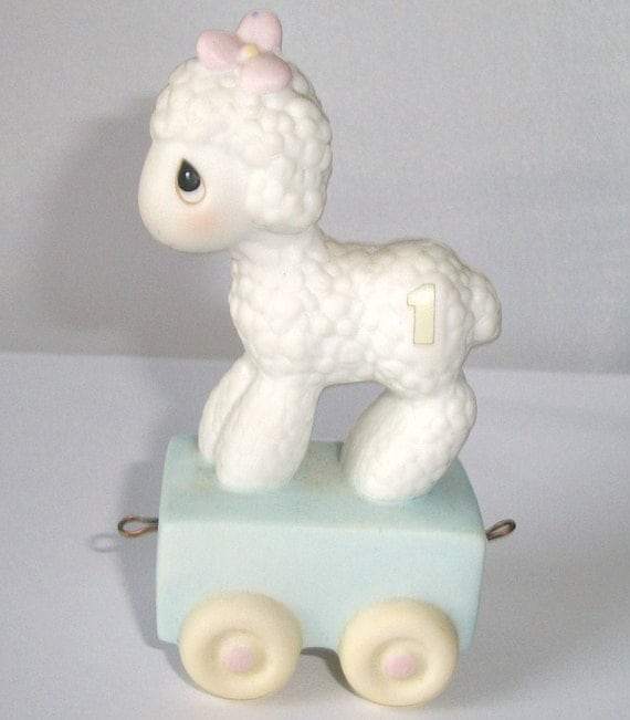 1985 Precious Moments Lamb, 1st Year Birthday Lamb, Precious Moments Birthday Train Lamb