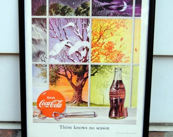Vintage  Coke Poster Framed - Thirst Knows No Season - Original, 1952 - Fabulous!