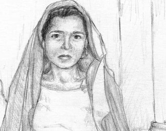Art Print - Pencil Drawing of Young Woman in India - India - Unframed