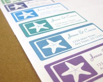 Wedding Address Labels - Starfish Wedding, Beach Wedding, Personalized Return Address Label Stickers, Custom Wedding Return Address Labels