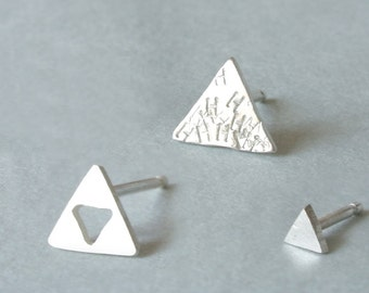 Three Triangle Earrings - Personalized Hand Stamped Stud Earrings