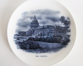 "SALE: Early 1900's Frank Beardmore & Co., Fenton plate ""The Capitol"" in blue"
