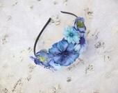 CLEARANCE SALE Blue Flower Cluster Fantasy Fairy Garden Alice Headband