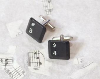 Your Birthday Age Custom Upcycled Keyboard Computer  Keys Cuff Links