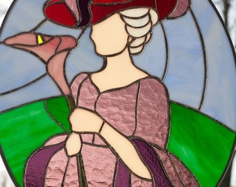 "Real Stained Glass, ""Red Hat Society"" gift"