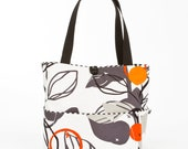 Womens handmade fabric handbags, orange tote, large handbags, beach bags, YMF Handbags