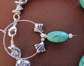 Faux Turquoise Silver plated beaded Earrings from Third TIme's A Charm **FREE PRIORITY SHIPPING!! **