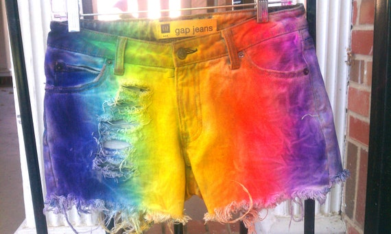 RAINBOW TIE-DYE Dyed Denim Low Rise Shorts - Custom order