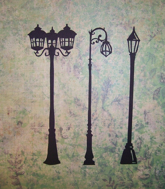 Intricate, Antique Street Lamp Silhouette Die-Cuts, Old-Fashioned Miniature Lamp Post Laser Cut. 7 inches tall.