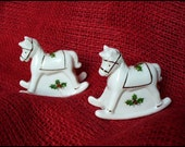 Rare ENESCO Vintage Christmas Rocking Horse Small Salt and Pepper Shakers