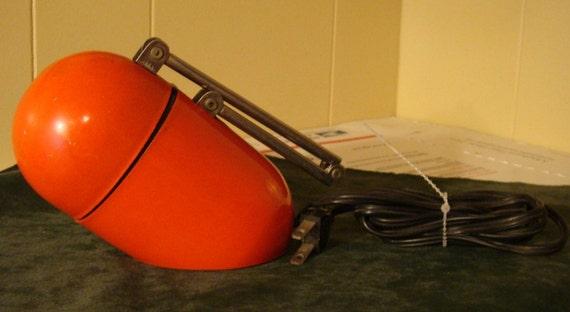 ATOMIC ORANGE Prestige '70s capsule space age bullet LAMP red orange adjustable Eames era Mad Men lamp mid century