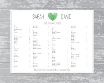 Modern Thumbprint Heart Monogram Custom Printable Guest Seating Chart 24x18  Guest Seating Chart Template