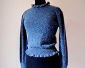 80's Blue Victorian Style Sweater. Ruffle Pullover. High Collar. Stretchy. Quirky. Size XS/Small