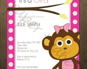 It's a girl baby shower invitation, digital, printable file 5 x 7, 4 x 6, monkey theme