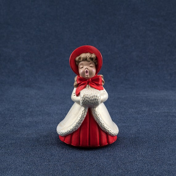 Ceramic Christmas Caroler Figurines Parma By Thepokeypoodle: Christmas Caroler Girl With Muff Red White By Colemanvintage