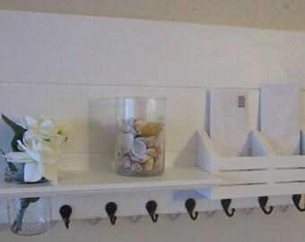 Shabby Chic Nautical Beach Cottage Flower Vase LARGE Multipurpose Key ring Mail holder Organizer Shelf Coat Towel Hanger Hooks Whisper White
